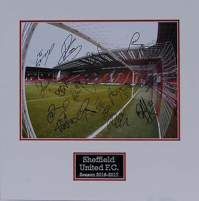 Sheffield United 2017 Squad Signed Double Mounted Photo A AFTAL COA Blades SUFC