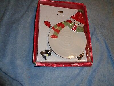 Hallmark Snowman Cheese Plate & 4 Gloves & Boots Spreaders Christmas Platter
