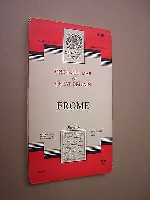 Ordnance Survey Map. Frome 1962. Sheet 166. 1 Inch. Folding. Paper. Colour.