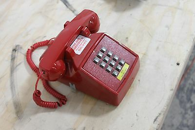 Vintage Cortelco ITT Touch-Tone Dial Desk Top Phone Red Telephone