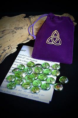 25 GLASS RUNE STONES & BAG Handmade Wicca pagan Triquetra Divination Witch