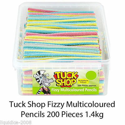 Tuck Shop Fizzy Multicoloured Pencils Sweets Box Party Favours Treat Discount