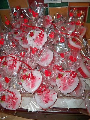25  scented favours heart wax candles  wedding guests wholesale valentines