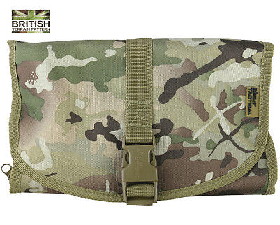 Army Combat Military Compact Hanging BTP Toilet Travel Shave Wash Kit Roll Bag