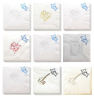 15 Luxury NAPKINS 3ply Anniversary/Wedding/Engagement Foil Printed Serviettes