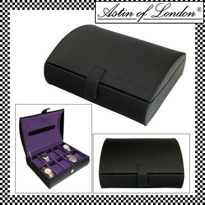 Aston Of London® Gents Pu Leather 10 Compartment Watch Box Case Purple Interior