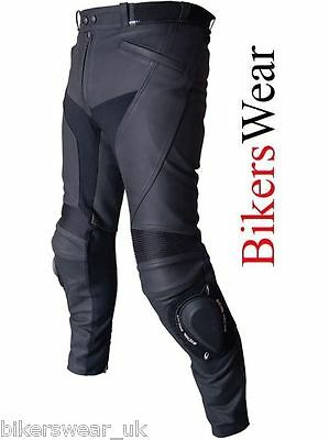 RICHA Sepang Black Leather Sports Motorcycle Trousers Regular / Short CE Armour
