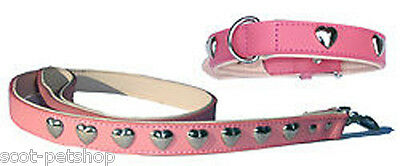 Dog Collar And Lead Set Pink With Silver Hearts 55 cm