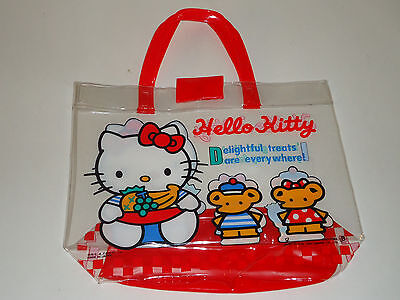Vintage 1992 Sanrio  HELLO KITTY JAPAN Carrying Purse Clear Hand Bag Red