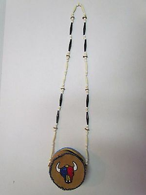 Native American Dual Sided Beaded Buffalo Design - Soft Moose Hide Purse - 5 In