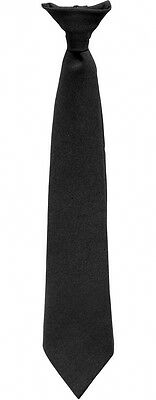 CLIP ON TIE, MEN'S, UNISEX, SECURITY, COSTUME, FUNERAL, BLACK (46cm) WORK, PARTY
