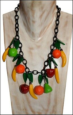 Fab Chunky Multi Color Carved Resin Charm Necklace With Fruit Charms