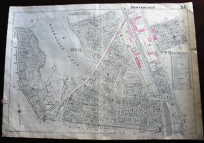 LARGE ORIGINAL 1937 PROVIDENCE RHODE ISLAND MAP Huge RI Property Owner Names