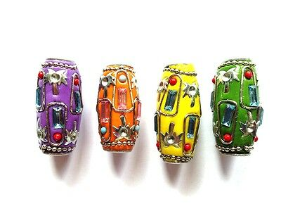 Extra Large Handmade Drum Shaped Bright Dread Beads 33mm x 18mm With Gift Bag