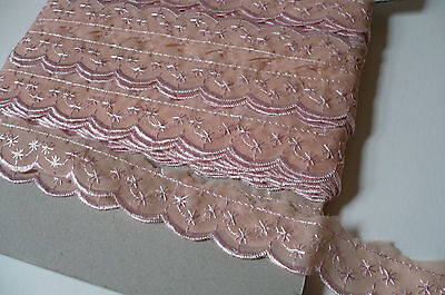 Vintage Swiss Embroidered Organza Lace Trim. 2.5cms. x 3 Metres. Pale Pink