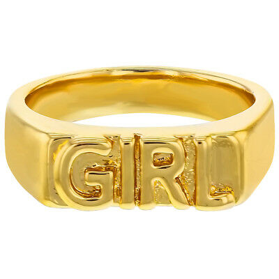 "14k Yellow Gold Plated ""Girl"" Engraved Band Rings for Girls"