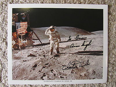 """signed in person autographed 8x10 photo ASTRONAUT CHARLES """"CHARLIE"""" DUKE c/w COA"""