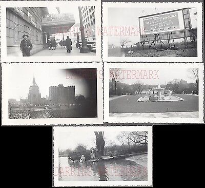 Lot of 5 Vintage 1940s Photos Roadside Street Scene Cleveland Ohio 737435