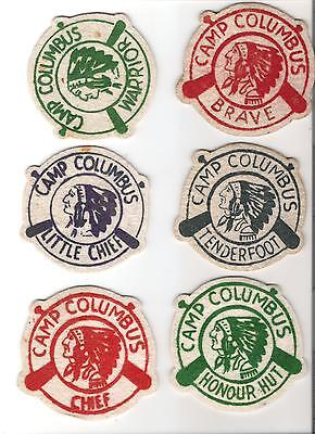 lot of 6 crests - Knights of Columbus - Camp Columbus - Bamber Lake, New Jersey
