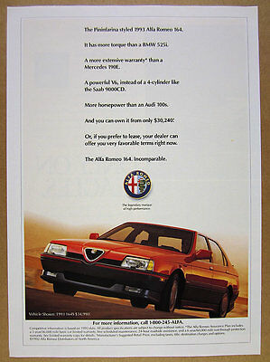 1993 Alfa Romeo 164 164S red car color photo vintage print Ad