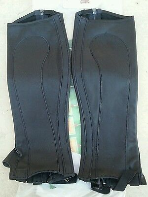 NWT RECTILIGNE $160 Valence Soft Black Leather Half Chaps w/Zipper