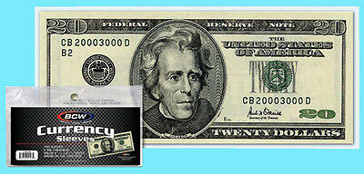 100 BCW REGULAR Size CURRENCY 2 MIL Soft Poly Sleeve Holder Storage US Note Bill