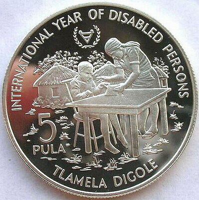 Botswana 1981 I.Y.D.P 5 Pula Silver Coin,Proof