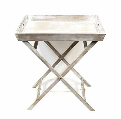 Butler Table Tray Stand Tea Drinks Folding Breakfast Laptop Tray Wood Side Table
