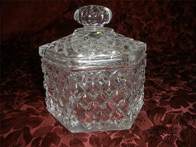 Stunning Patterned Glass Hexagon Dish And Lid
