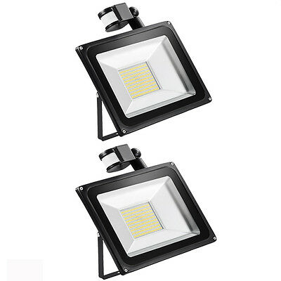 2x 100W SMD LED Floodlight with PIR Cool White 6000-6500K Outdoor Lighting Light