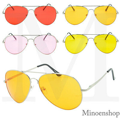 9522c2dc8 Classic VTG Pilot Sunglasses Teardrop Yellow Colored Lens Night Driving  Fashion