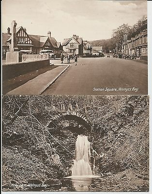 Station Square, Wemyss Bay, and Kelly Glen on two fine mint older postcards