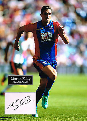 Martin KELLY SIGNED Autograph 16x12 Photo Mount AFTAL COA Crystal Palace FC