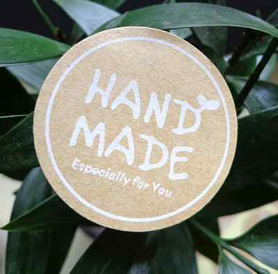 Lot 60 étiquette STICKER kraft fait main HAND MADE WITH LOVE ESPECIALLY FOR YOU