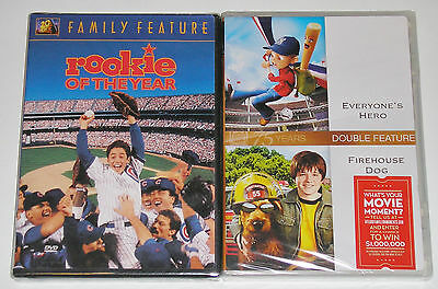Kid Family DVD Lot - Rookie of the Year (New) Everyone's Hero & Firehouse Dog