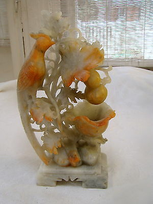 VTG SOAPSTONE  Sculpture Cockatoo Bird of Paradise Chinese Asian Carving