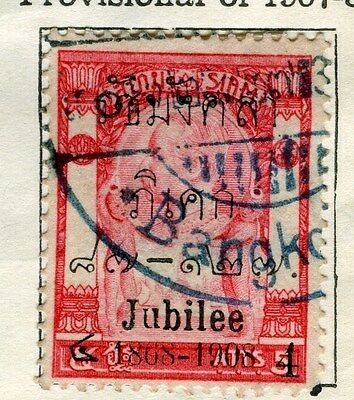 THAILAND;  1907-8 early Jubilee Optd. issue fine used 4a. value