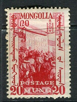 MONGOLIA;  1932 early pictorial issue fine Mint hinged 20m. value
