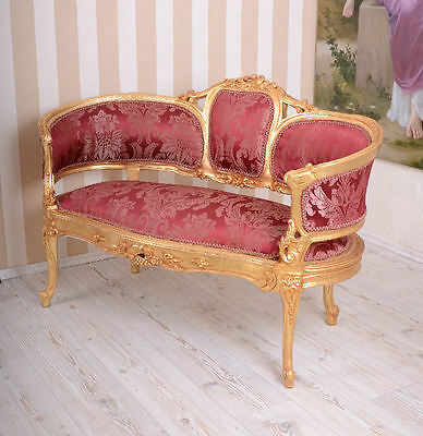 Luxus Pur Historisches Barock Sofa Rot Gold