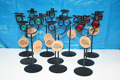 Wholesale job lot shop clearance metal twin candle holder with coloured eye x 40