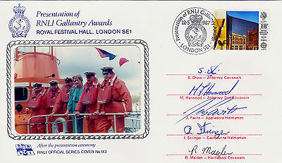 Rnli Lifeboat Gallantry Medals Awards Cover ** Signed By 5 Award Winners (1987)