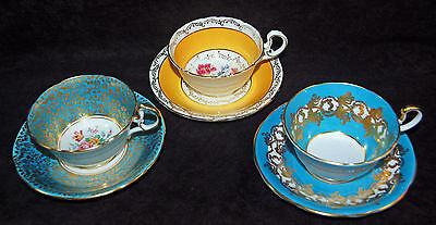 Three Sets Of Beautiful Aynsley Vintage Cups And Saucers - Florals / Heavy Gold