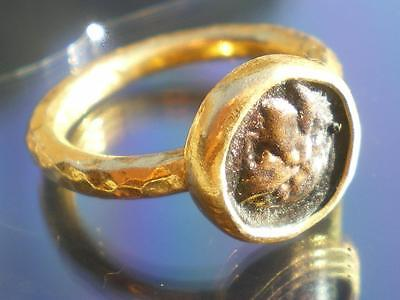 1 Medieval ring Profile Roman Emperor in Golden Silver    SIZE US 5