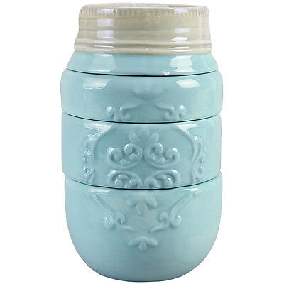 NEW Decorative Rustic Blue Ceramic Mason Jar Stacking Measuring Cups (4 Pieces)