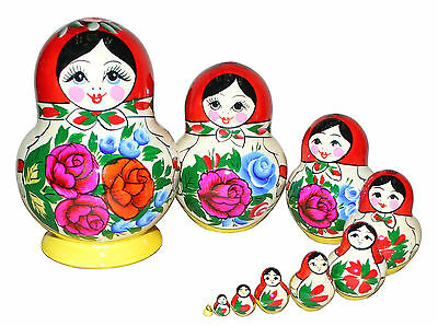 10 TRADITIONAL RUSSIAN NESTING MATRYOSHKA DOLLS/SEMENOVO DOLLS/14cm/5.6''