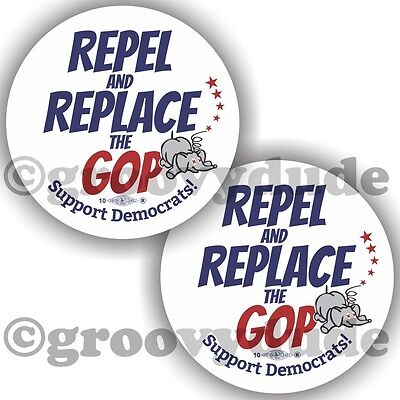 2 Repel Replace GOP Support Democrats Political Campaign Pin Pinback Button Lot