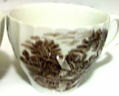 Tea cups made in England set of six brown scenic