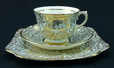 Colclough Cup and Saucer With Dessert Plate Set England Gold Chintz Floral Green