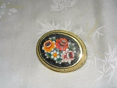 Colorful Vintage Italian Micro Mosaic Floral Pin With Black Background