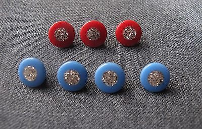 6 Vintage Silvered Confetti Dark Sky Blue & Red Plastic Buttons
